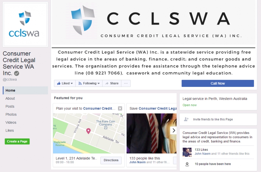 CCLSWA's Facebook page
