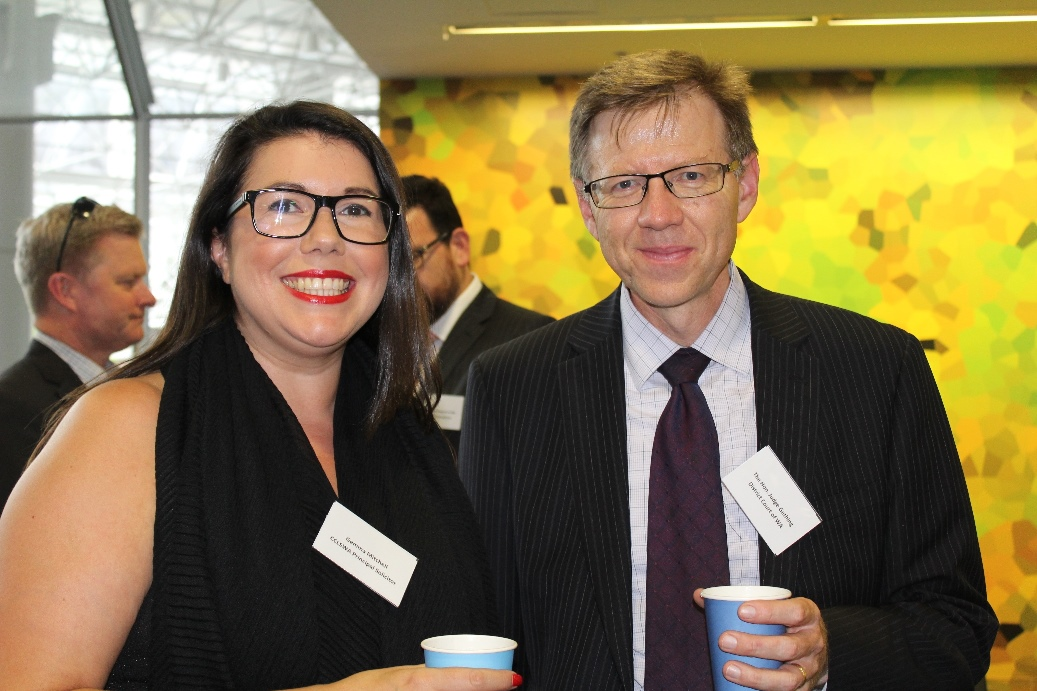 CCLSWA Principal Solicitor Gemma Mitchell and the Hon Judge Michael Gething at the launch